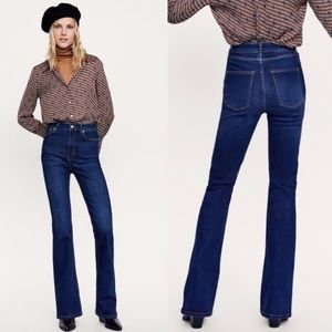 ✨NWT Zara Skinny Flare Jeans Sena Blue High Rise 4